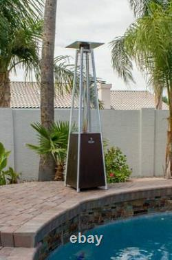 Hiland HLDSO1-WGTHG Pyramid Patio Propane Heater with Wheels 87 Inches Bronze