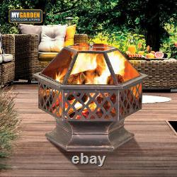 Large Fire Bowl Fire Pit For Garden Patio Heater BBQ Vintage Design Charcoal