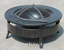 Large Outdoor Fire Pit Garden Metal Firepit, BBQ & Grill with Cover
