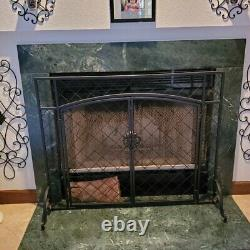 Large Single Fireplace Screen Panel Iron with Doors Heavy Duty Cover Fire Guard