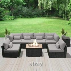 Modenzi G7 Outdoor Wicker Patio Furniture with Rectangular Fire Pit Light Grey