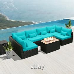 Modenzi G7 Outdoor Wicker Patio Furniture with Rectangular Fire Pit Turquoise
