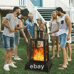 NSdirect Large Fire Pit Steel Wood Burning Outdoor Fireplace Tower 44 High B