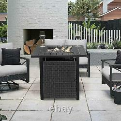 Outdoor 28 Inch Gas Propane Fire Pit Table, 40000BTU Wicker Rattan Square Table