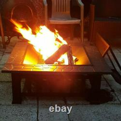 Outdoor Fire Pit Firepit Brazier Garden Square Table Stove Patio Heater 86cm UK