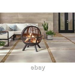 Outdoor Fire Pit Wood Burning Steel Briarglen Fire Ball with Tree Branches