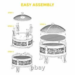 Outdoor Fire Pit and BBQ Bowl Round Garden Patio Extra Large Barbecue Grill Log