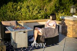 Outdoor Firepit Table Heater Fire Pit Ignition with Wind Guard + Firepit Cover