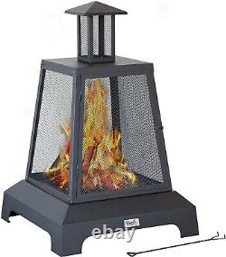Outdoor Fireplace Chiminea Square Wood Burning Fire Pit Metal Steel Black Matte