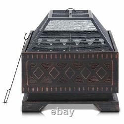 Outdoor Metal Firepit Square Table Patio Round Stove Fire Pit Log Burner withPoker