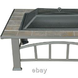 Outdoor Wood Fire Pit Rectangular Table Tile Top Fireplace For Backyard & Patio