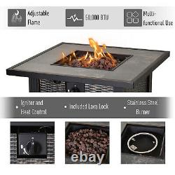 Outsunny 30 Black Bronze Metal Square Patio Gas Fire Pit With Table Lid