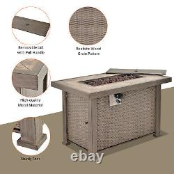 Outsunny 42 Metal Fire Pit Table Patio Propane Gas With Lid & Cover, 30000BTU