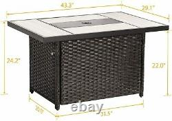 Patio Outdoor 43 Inch Propane Gas Fire Pit Table, Rectangle Fire Table Wicker