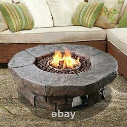 Peaktop Fire Pit 37.01 in x 37.01 in Round Stone Look Outdoor Propane Gas Brown