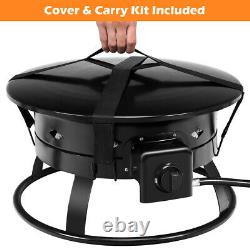Portable Propane Outdoor Gas Fire Pit With Cover & Carry Kit 19-Inch 58,000 BTU