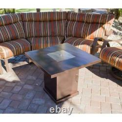 Propane Fire Pit Hammered Bronze Brown 30 x 30 Table Top Patio Yard Decor Home
