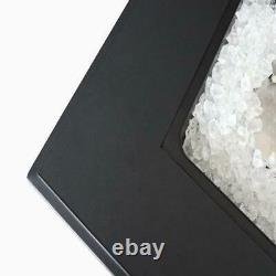 Propane Fire Pit Table 28 Matte Black with Free Arctic Ice Glass Lid and Cover