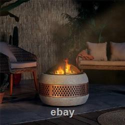 Round MgO Fire Pit Frost Resistant Firepit Outdoor Garden Barbecue Grill New