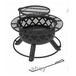 SRFP9624 Ranch Fire Pit With Side Tables & Grill Top, 24-In. Quantity 1