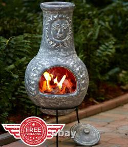 STONE GRAY Rustic Chiminea Sun Face Outdoor Clay Patio Fire Pit with Cover Lid