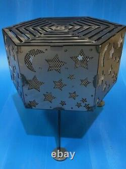Star and Moon hexagonal fire pit with top grill
