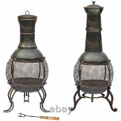 Steel Chiminea Fire Pit Outdoor Garden Patio Heater BBQ New By Home Discount