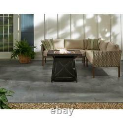 Steel Gas Fire Pit Table Antique Bronze Finish 50000 BTU Natural Slate Table Top