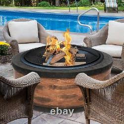 Sun Joe 35-Inch Cast Stone Base Fire Pit withDome Screen and Poker Rustic Wood