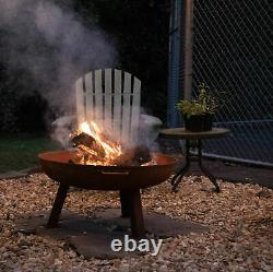 Sunnydaze 24 Fire Pit Cast Iron with Rustic Finish Wood-Burning Fire Bowl