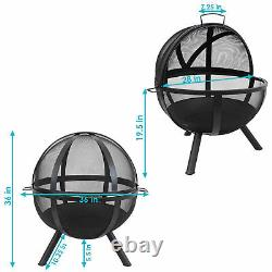 Sunnydaze 30 Fire Pit Black Steel Flaming Ball with Protective Cover and Poker