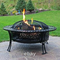 Sunnydaze 40 Fire Pit Black Steel Four Star Design with Spark Screen and Poker
