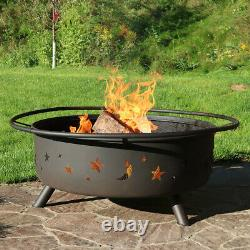 Sunnydaze 42 Fire Pit Steel Cosmic Design with Spark Screen and Firewood Poker