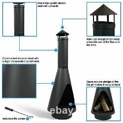 Sunnydaze 56 Chiminea Wood-Burning Fire Pit with Open Access Design and Poker