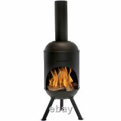 Sunnydaze 60 Chiminea Outdoor Wood-Burning Fire Pit Black Steel with Fire Poker