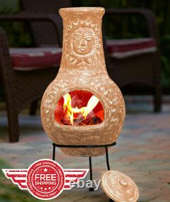 TERRA COTTA Rustic Sun Face Outdoor Clay Chiminea Patio Fire Pit with Cover Lid