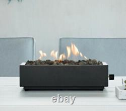 Table Top Fire Pit Propane Gas Burner Steel Black Rectangle Outdoor Fireplace