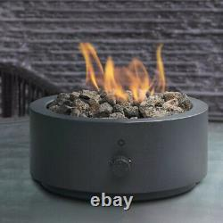 Table Top Fire Pit Round Bowl Propane Gas Black Matte Steel Metal Frame Outdoor