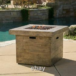 Tompkins Outdoor Square Brown Lightweight Concrete Fire Pit with Wood Design