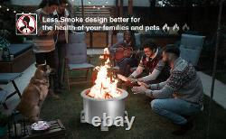 U-MAX Outdoor Smokeless 21.5 Fire Pit, 304 Stainless Steel Bonfire Fire Pit