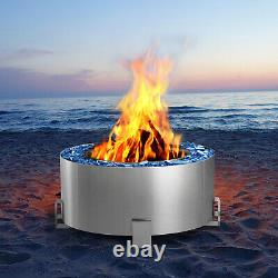 U-MAX Outdoor Smokeless 28.5 Fire Pit, 304 Stainless Steel Bonfire Fire Pit