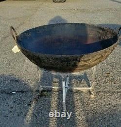 Vintage Fire Pit with Stand, Rustic Metal Bowl, Kadai Bowl Primitive